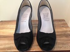 Cynthia Rowley black suede peep-tow high heeled pumps, size 7.5