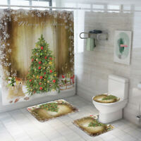 "Christmas Tree Gingerbread Man Candy Cane Shower Curtain Set Bathroom Decor 72/"""