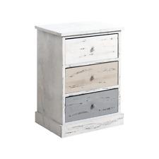 Mobili Rebecca Cabinet Bedside Table 3 Drawer Wood White Grey Rustic Bedroom