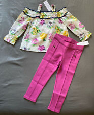 Toddler Girl Size 3 Janie and Jack Floral Cold Shoulder Top & Purple Pants