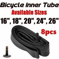 "8x Inner Bike Tube Bicycle Rubber Tire BMX Schrader Valve 16"" 18"" 20"" 24"" 26"""