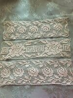 Three Beautiful Vintage Handmade Filet Lace Doilies