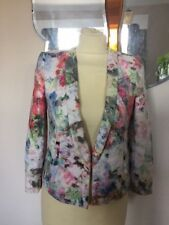"""'Zara Trafaluc"""" Pastel  Floral Short Fitted Jacket Zipped Cuffs - Small ("""
