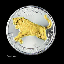 2016 1 OZ Silver Ounce  Coin Cougar Canadian 24K Gold Gilded capsule included