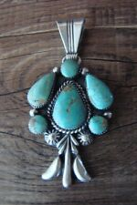 Navajo Indian Hand Stamped Sterling Silver Turquoise Pendant - Bobby Platero