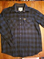 VTG Woolrich Mens Button Front Shirt Jac Wool Blue Black Plaid Grunge XL USA