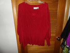 Women's plus size 1x red babydoll knit top by Chelsea Studio
