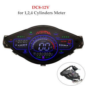 DC8-12V Motorcycle LCD Speedometer Meter Tachometer Gauge For 1,2,4 Cylinders