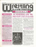 AUGUST 29 1994 PRO WRESTLING ILLUSTRATED WEEKLY MAGAZINE BRET HART HIT MAN WWF