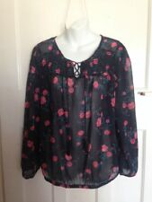 Unworn with Tags - Ladies Navy Top with Floral Detail - BHS - Size 16