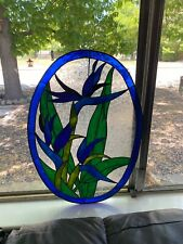 """Vintage Hanging Stained Glass Window Birds Of Paradise Blue & Green 21"""" L 16"""" W"""