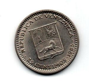 Venezuela 1965, Coat of arms, LIbertador Bolivar bust left flanked, 25 céntimos
