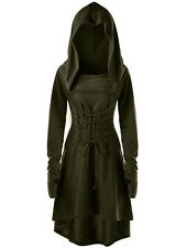 Summer Goth Women Steampunk Witch Hooded Dress Lace Up Long Top Cosplay Costume