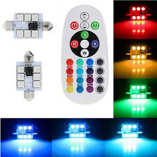 2 x 41mm 6SMD 16-Color RGB LED Festoon Dome Lamp Interior Light Remote Control
