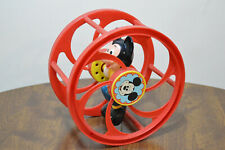 Vintage 1960's Rolling Wheel Toy Walt Disney Productions Mickey Mouse RED