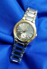 CROTON 18k GOLD EQUATOR SAPPHIRE crystal stainless watch, new battery good cond