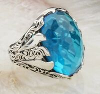 HANDSOME Turkish 925 Sterling Silver Aquamarine Stone Mens man ring ALL SİZE US