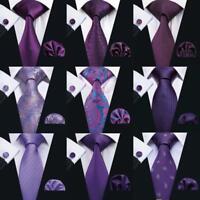 Mens Purple Silk Tie Set Solid Checks Paisley Jacquard Woven Necktie Wedding USA