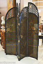 Gorgeous Unique Piano Black Lacquer & Gilt Asian ROOM DIVIDER Dressing SCREEN