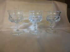 """3 Vintage Clear King's Crown 4"""" Claret Wines Tiffin-Franciscan 1943-1962 LOVELY"""