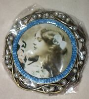 Taylor Avedon collectible Enamel Crystals Photo picture Frame round blue new