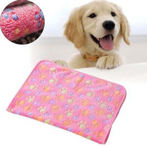 Pink Pet Dog Cat Puppy Kitten Soft Blanket Doggy Warm Bed Mat Paw Print Cushion