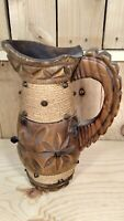 """Antique Primitive Hand Carved Wooden Pitcher 10"""" Tall"""