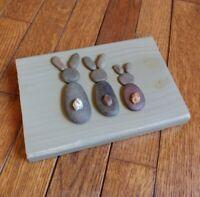Handmade Bunny Pebble Art On Painted Wood Piece Slightly Distressed