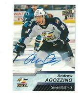 Andrew Agozzino 2018-19 18-19 Upper Deck AHL AUTO Card #32 EAGLES