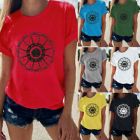 Women's Simple Fashion Casual O-Neck Printed Short-Sleeved T-Shirt Blouse Tops