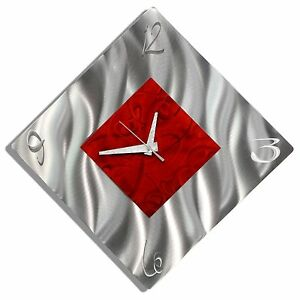 Red + Silver Metal Wall Clock - Diamond Clock for Office, Kitchen - GREAT GIFT