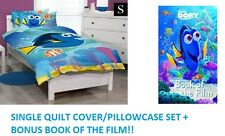 SINGLE DISNEY FINDING DORY NEMO KIDS QUILT DOONA COVER SET + BONUS FICTION BOOK