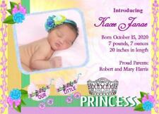 10 Personalized Princess Baby Girl Birth Announcement Cards name photo wt parent