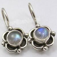 925 SOLID Silver RAINBOW MOONSTONE CUTE Earrings 0.7 Inch