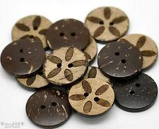 8 BOTONES COCO Tuerca COCO Patrón 18mm flor marrón 2 Agujeros Coser Mercería #
