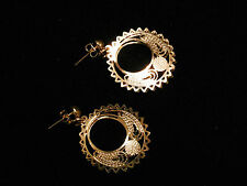 Pierced Earrings Vintage Stylish Jewellery Goldtone Ornate Design Filigree Lace