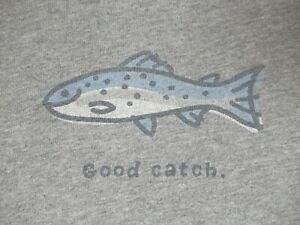 LIFE IS GOOD - FISHING TROUT GOOD CATCH - GRAY MEDIUM T-SHIRT F1545