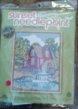 """Sunset needlepoint kit """"Autumn Mill Pond"""" Brand new in sealed package..vintage"""