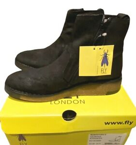 Fly London Men's Boots Size UK 6 EU39 Black Classic Zip Leather Boxed RRP £104