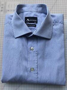 Aquascutum Two Fold Cotton Long Sleeved Striped Shirt 16.5/42
