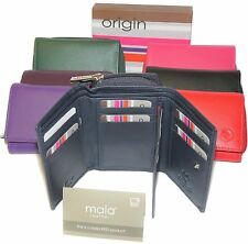 Mala Leather Trifold Purse RFID with LARGE coin tray pocket & ID window 3317