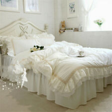 Victorian Style Beige Lace Ruffles Cotton Bedding Set Duvet Cover Set Bed Skirt