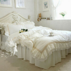 Victorian Style Beige Lace Ruffles Cotton Bedding Set Duvet Cover Set Bed Skirt