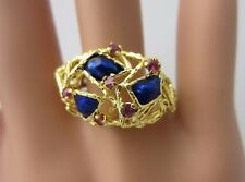 Vintage 18K Yellow Gold Ruby And Blue Enamel Ring Free Form