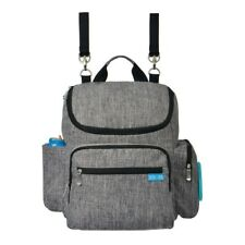 Bitsy-Boo Baby Diaper Bag Backpack with Stroller Straps & Wipes Pocket, Grey