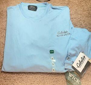 NWT! CABELAS GUIDEWEAR-Blue Perform.Poly, Mens LS, UPF.50 Fishing T.Shirt-(XL)