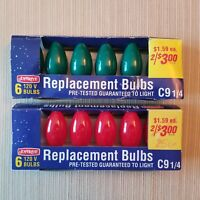 12 NOS Vintage Joybrite C-9 1/4 Christmas Bulbs In Red & Green   Thailand