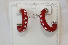 New Authentic Brighton Baby Jazz Silver, Red  & Crystal Hoop Post Earrings