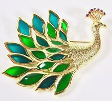 Vintage Trifari tm Figural Peacock Brooch Blue and Green Plique-a-jour Gold Tone