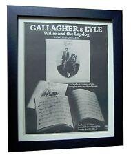 GALLAGHER & LYLE+Willie Lapdog+POSTER+AD+RARE ORIG 1973+FRAMED+FAST GLOBAL SHIP